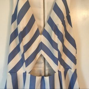 Lovers + Friends Dresses - Lovers + Friends Striped dress short keyhole blue